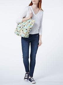 Blue Floral Canvas Bag