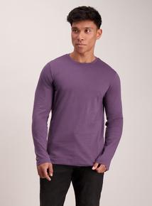 Purple Crew Neck Long Sleeve T-Shirt