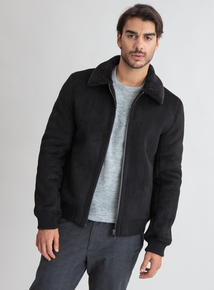 Premium Black Borg Collar Jacket