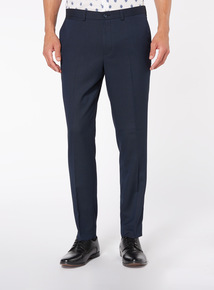 Navy Herringbone Stretch Trouser