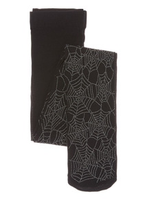Black Halloween Silver Cobweb Tights (0-12 years)
