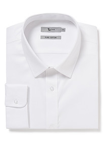 White Cotton Tailored Fit Non Iron Shirt