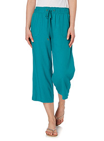 Teal Linen Cropped Trousers