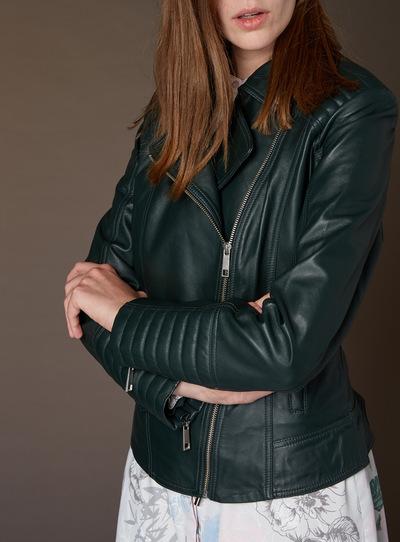 Womens Premium Green Leather Jacket | Tu clothing