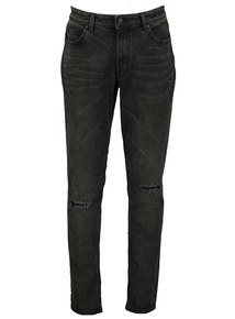 Black Marble Wash Ripped Knee Skinny Jeans
