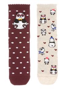 Two Pack Panda Mirror Socks