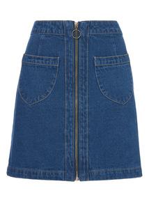 MidDenim Zip Through Mini Skirt
