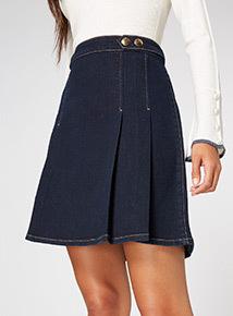 Denim Pleat Skirt
