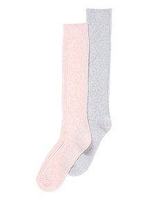Pink Two Pack Cable Knee High Socks