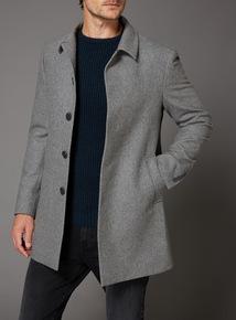 Grey Herringbone Slim Fit Car Coat