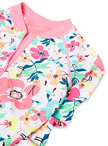 White Floral Print Rash Body Swimsuit (1-12 years)