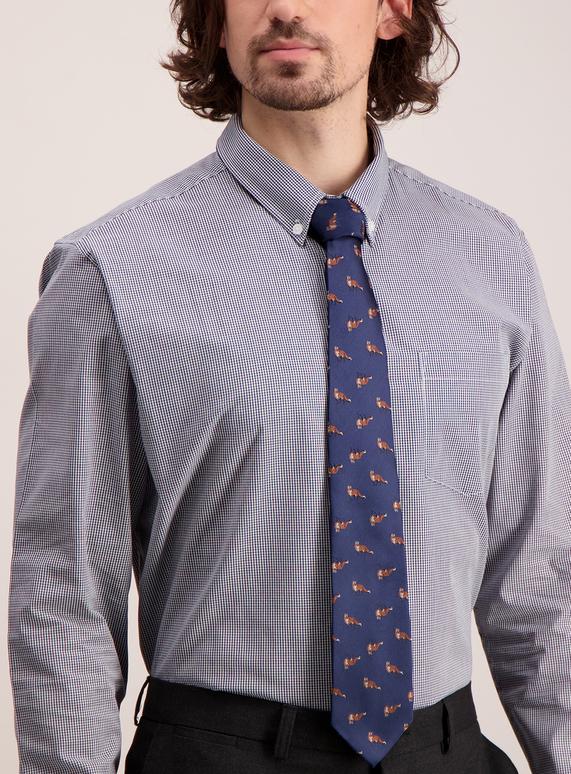 speical offer buy best best authentic Menswear Online Exclusive Navy Fox Print Tie | Tu clothing