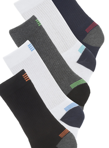Multicoloured Active Arch Support Sports Socks 5 Pack