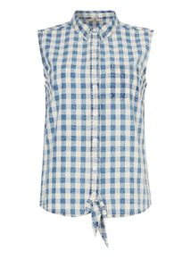 Blue Gingham Self-Tie Hem Top