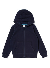 Navy Picot Zip Through Hoody (9 months-6 years)