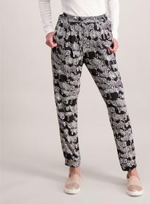 Monochrome Zebra Print Drapey Trousers