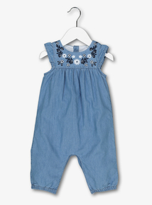 Blue Chambray Embroidered Romper (0-24 months)