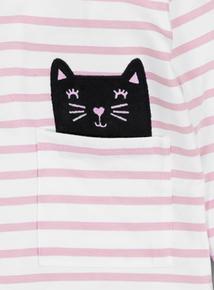 White & Pink Stripe Cat In Pocket Top