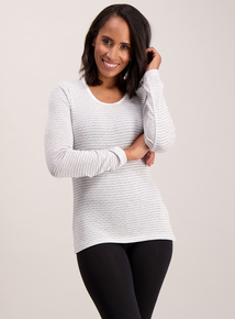 Cream Stripe Long Sleeve Pointelle Thermal Top