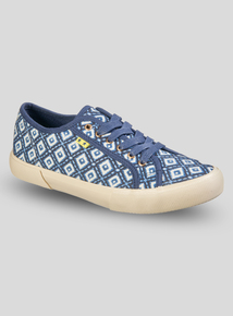 fe95ef92bf Navy Tile Print Lace Up Trainers