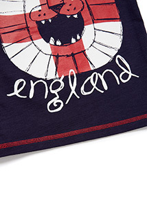 Navy England World Cup Lion Print T-shirt (9 months-6 years)