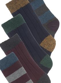 Multicoloured Stay Fresh Ribbed Socks 5 Pack