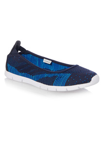 Blue Flexi Knit Ballerina
