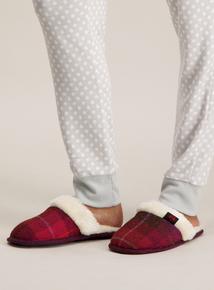 'Harris Tweed' By Totes Dark Pink Mule Slipper