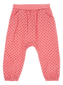 Girls Pink Relaxed Spot Cord Leggings (9 months-6 years)
