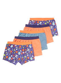 5 Pack Multicoloured Space Ball Trunks (2-12 years)