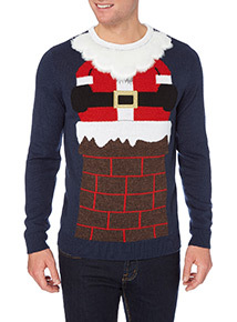 Navy Novelty Santa Chimney Jumper