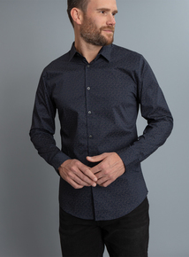 Navy Leaf Print Slim Fit Long Sleeve Shirt