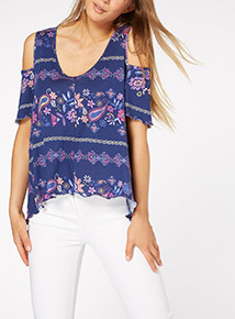Patterned Cold Shoulder Top