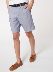 Blue Stripe Belted Oxford Chino Shorts