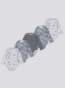 Grey Raccoon Bodysuits 5 Pack (Newborn - 36 Months)