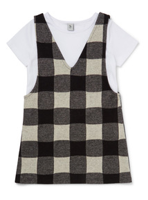 Monochrome T-Shirt and Check Dress Set (3-14 years)