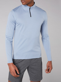 Admiral Light Blue Jacquard Zip Neck Jumper