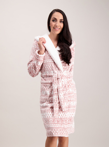 Pink & White Aztec Print Fleece Dressing Gown