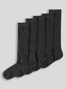 Grey Knee High Sock 5 Pack (6 infant-5.5 adult)