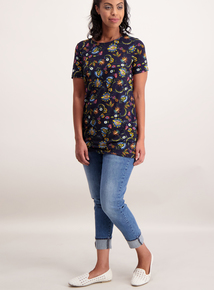 Online Exclusive Multicoloured Floral Longline T-Shirt