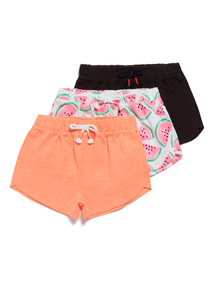 3 Pack Multicoloured Watermelon Shorts (3-14 years)