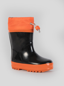 Orange And Black Drawstring Wellies (6 Infant-4 Child)