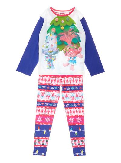 Multicoloured Christmas Trolls Pyjama Set (3-10 years)