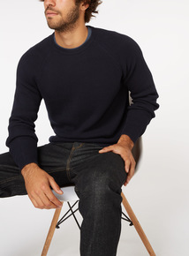 Navy Ribbed Crew Neck Jumper