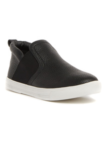 Black Elastic Slip On Trainers