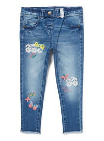 Blue Denim Floral Embroidered Jeans (9 months-6 years)