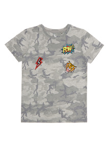 Boys Grey Camo Badge Tee (4 - 14 years)