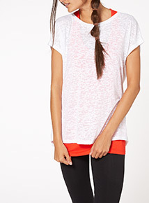 Red Burnout Double Layered Tee