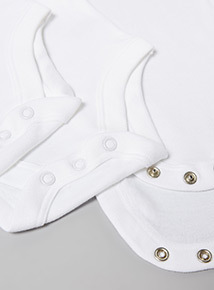 5 Pack White Bodysuits (Tiny baby - 3 years)
