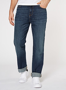 Mid Wash Denim Straight Jeans
